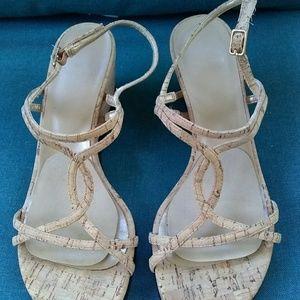 Stuart Weitzman Natural Cork Wedge Sandals 7.5 M